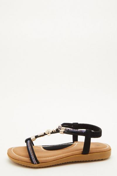 Comfort Black Embellished Sandals