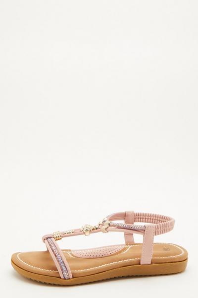 Comfort Pink Embellished Sandals