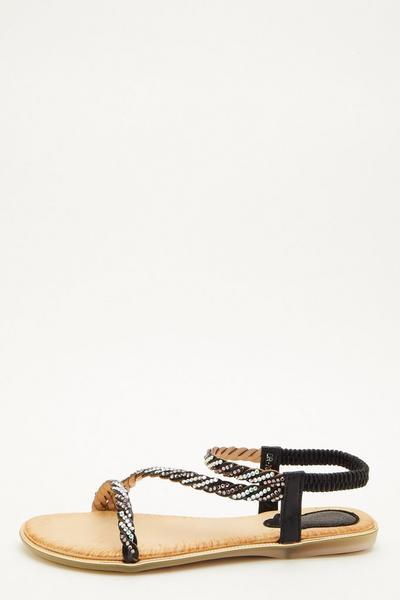 Black Embellished Flat Sandals