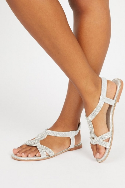 Silver Embellished T-Bar Flat Sandals