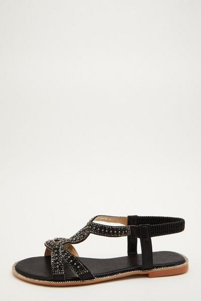 Black Embellished T-Bar Flat Sandals
