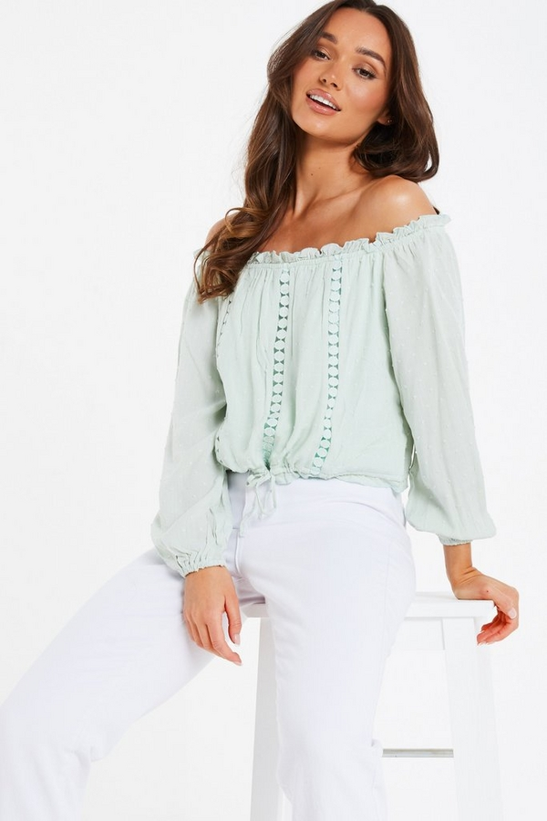 Sage Crochet Bardot Top