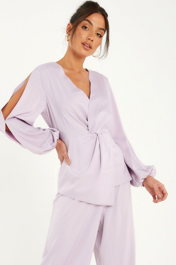 Lilac Satin Knot Front Top