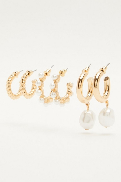 Gold Pearl Hoop Earring Set