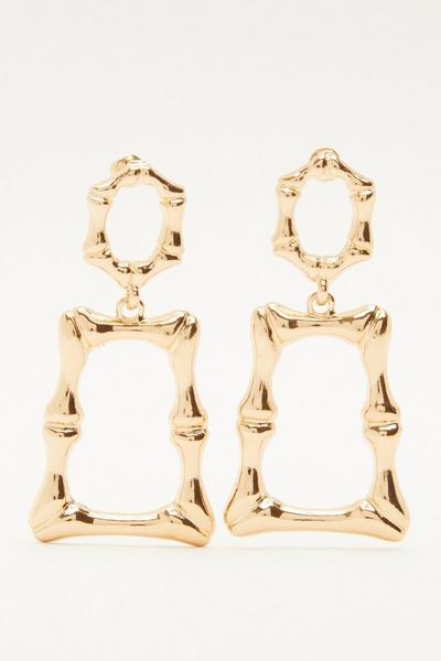 Gold Rectangle Drop Earring