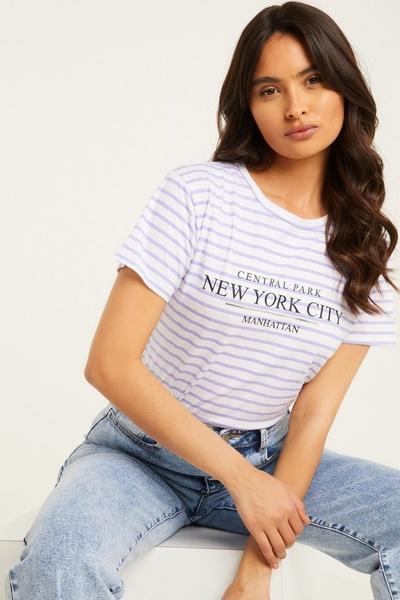 Lilac Stripe Slogan T Shirt