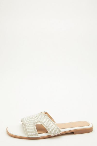 White Embellished Mule Sandals