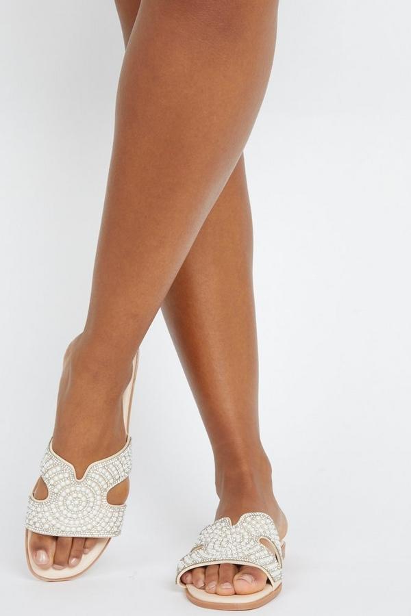 Nude Embellished Mule Sandals