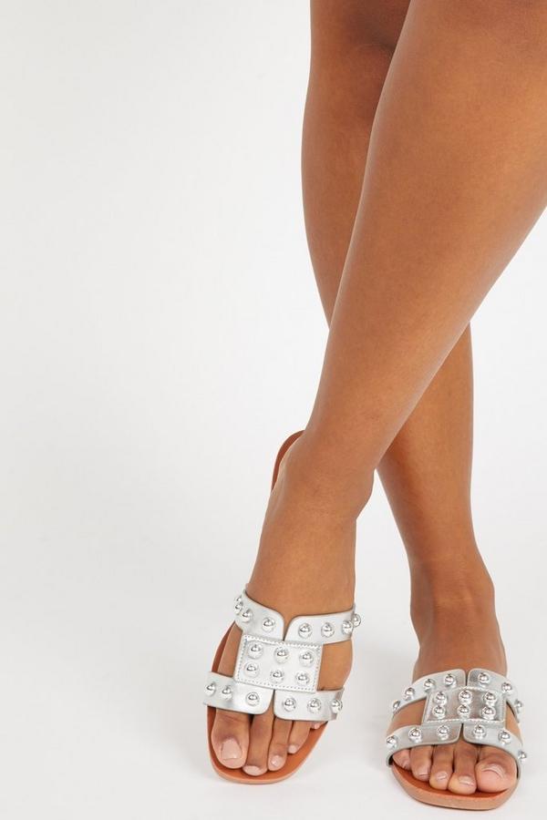 Silver Stud Mule Sandals