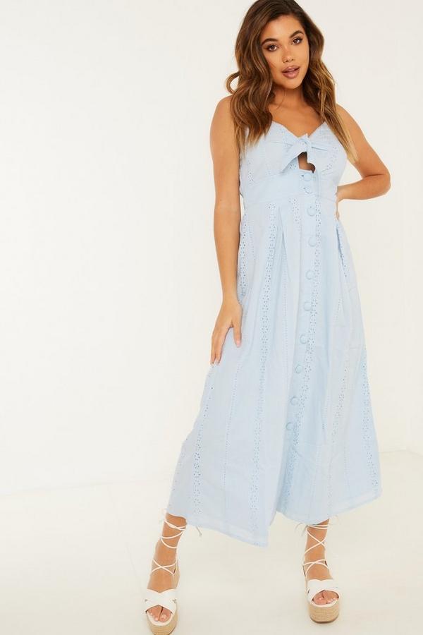 Blue Broderie Tie Midi Dress