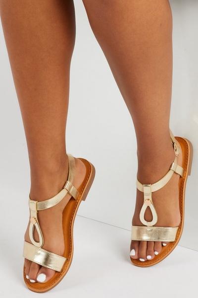 Gold Metallic T Bar Sandals