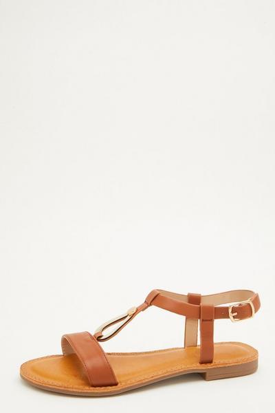 Tan Metallic T Bar Sandals