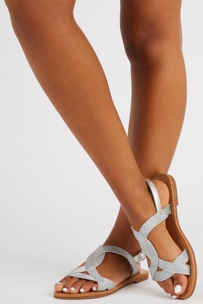Silver Woven Flat Sandal