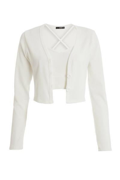 Cream Ribbed Cardigan Set