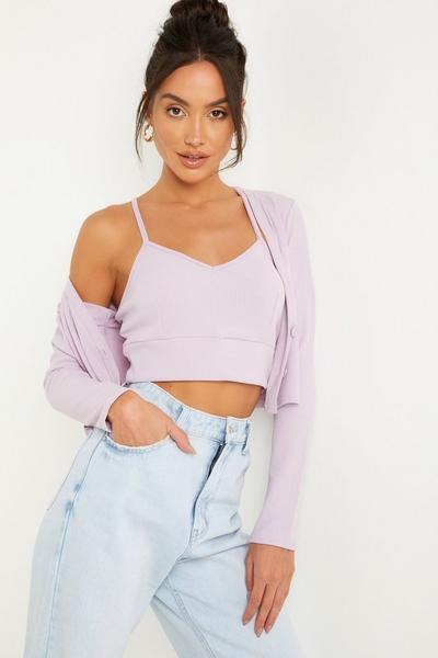 Lilac Ribbed Cardigan Set