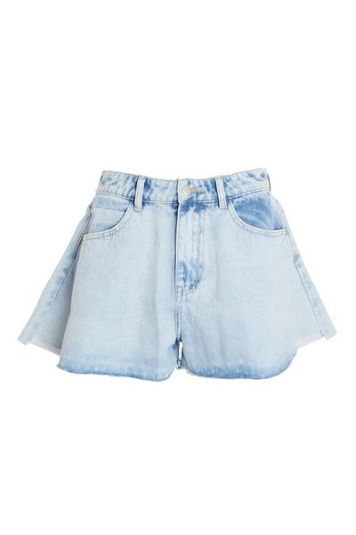 Blue Acid Wash Frill Hem Shorts