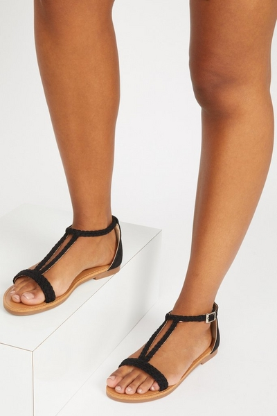 Black T Bar Flat Sandals