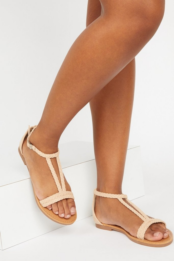 Nude T Bar Flat Sandals