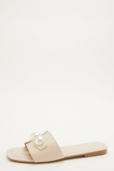 Nude Pearl Mule Sandals