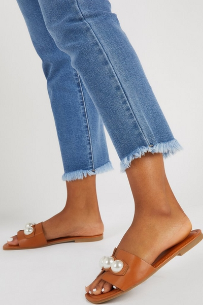 Tan Pearl Mule Sandals