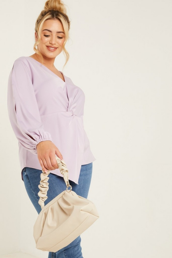 Curve Lilac Satin Knot Front Top