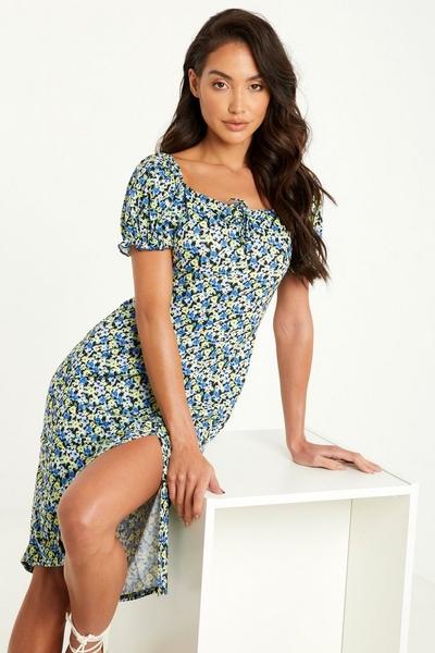 Blue Floral Puff Sleeve Midi Dress