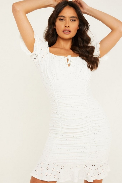 Cream Broderie Ruched Bodycon Dress