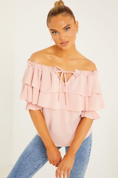 Pink Frill Bardot Top