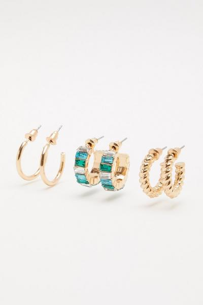 Green Hoop Earring Set