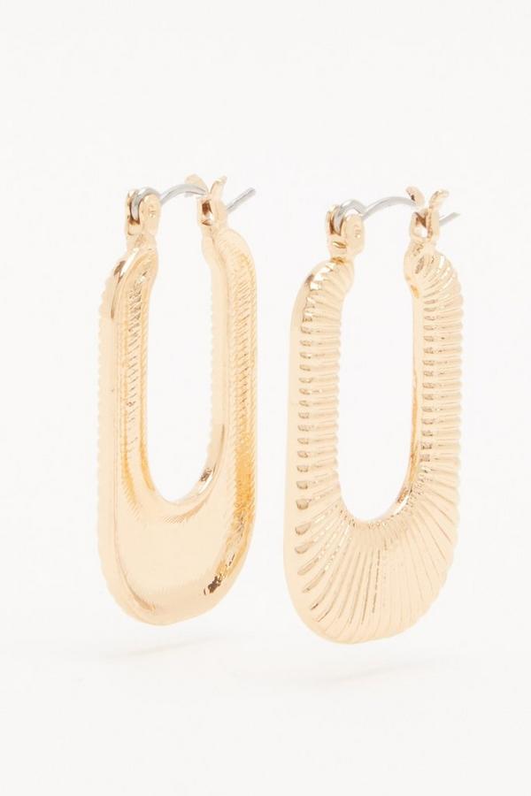 Gold Rectangle Hoop Earrings
