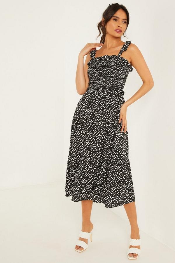 Black Smudge Spot Print Midi Dress