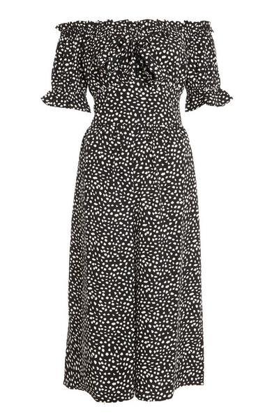 Black Smudge Spot Print Bardot Jumpsuit