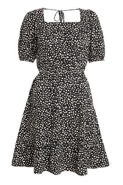 Back Smudge Spot Print Mini Dress