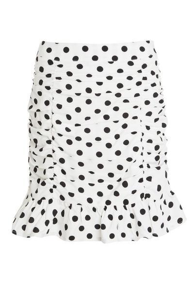 White High Waist Polka Dot Skirt
