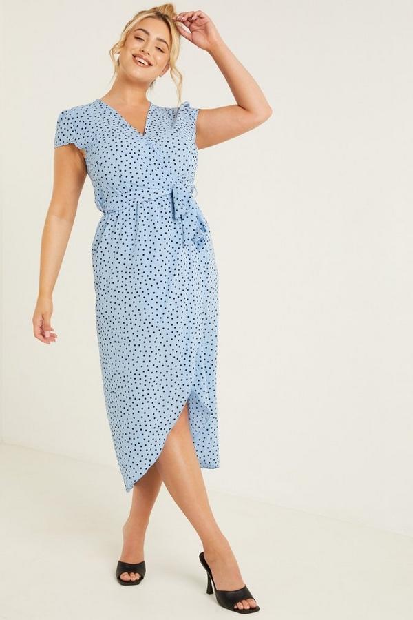 Curve Blue Polka Dot Midi Dress
