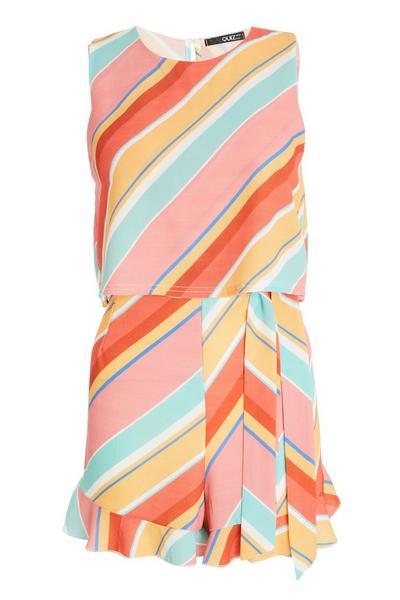 Multicoloured Stripe Frill Playsuit