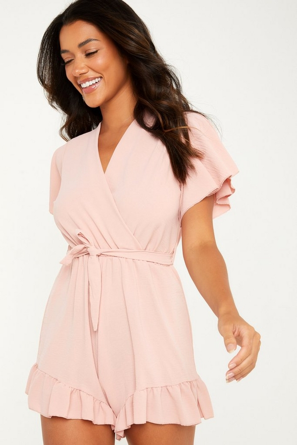 Pink Frill Wrap Playsuit
