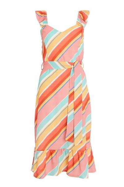 Multicoloured Stripe Midi Dress