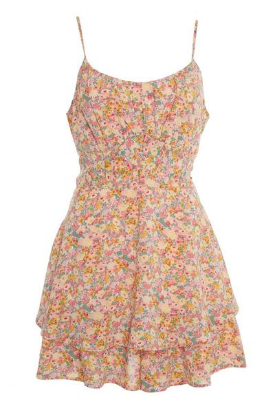 Pink Floral Frill Playsuit