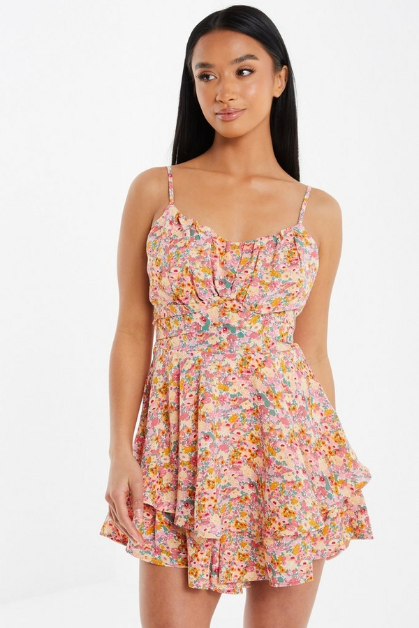 Petite Pink Floral Frill Playsuit
