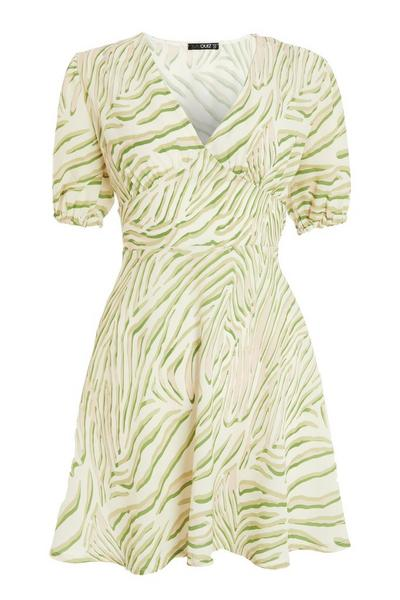 Sage Zebra Print Skater Dress