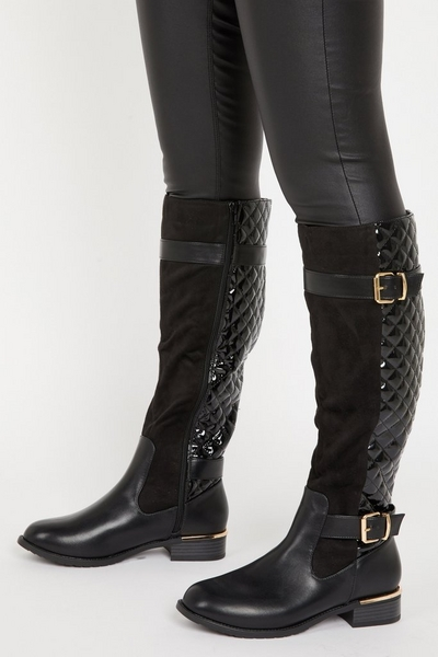 Black Quilted Knee High Boots