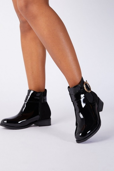 Wide Fit Black Patent Ankle Boot