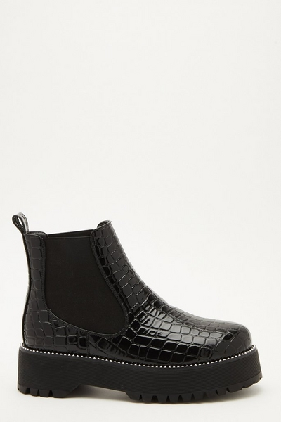 Black Crocodile Print Chunky Boots