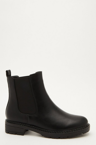 Black Faux Leather Chelsea Boot