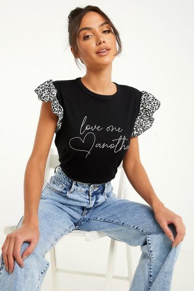 Black Animal Print Slogan T Shirt