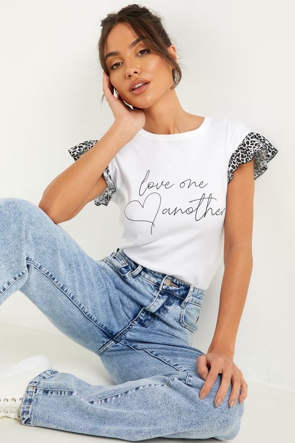White Animal Print Slogan T Shirt