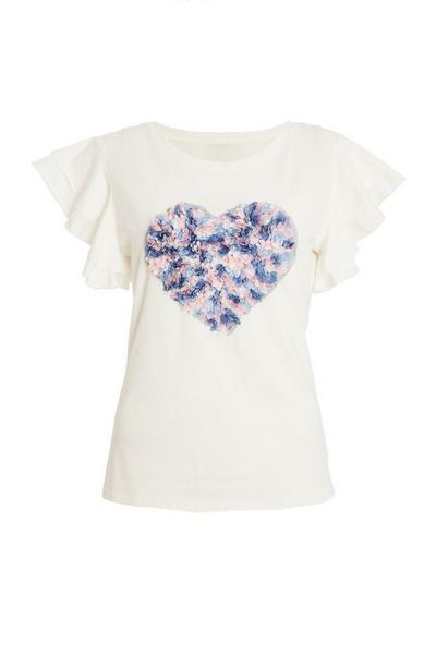 White Sequin Heart T Shirt