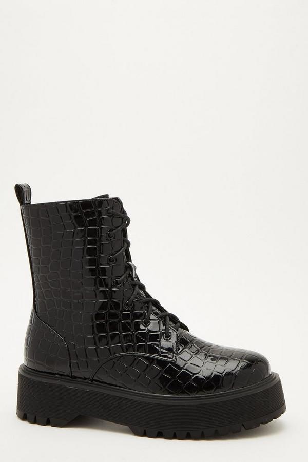 Black Crocodile Lace Up Boots