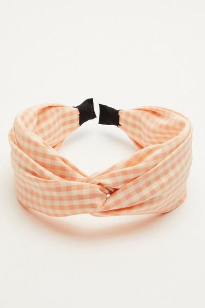 Peach Gingham Headband
